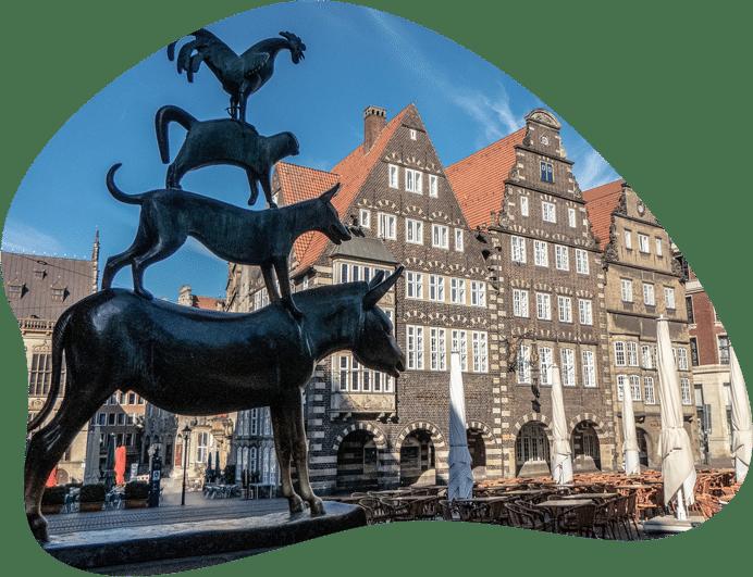 Bild der Bremer Stadtmusikanten, als Titelbild für die Regeln zur Hundehaltung in Bremen